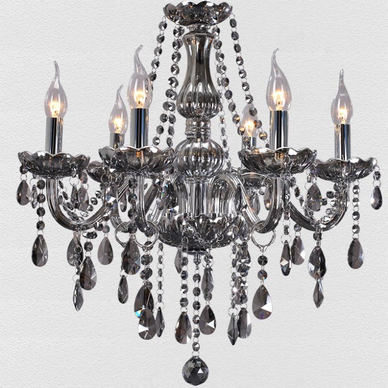 Free shipping european modern chandelier smoke gray living for Modern crystal chandelier for dining room
