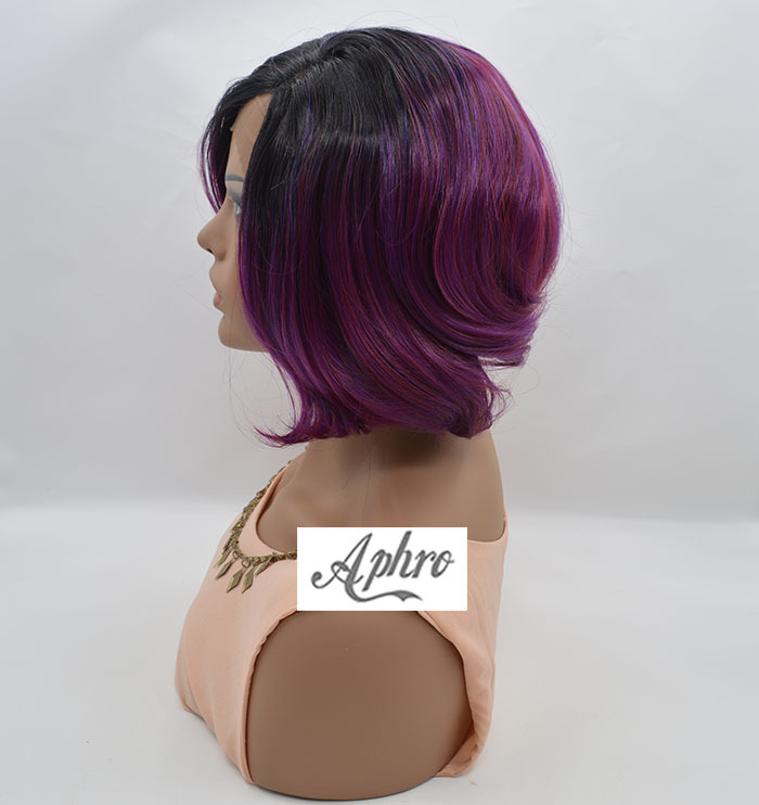 Short Bob Black/Purple/Red Synthetic Lace Front Wig 150%-180%Density10-26 inch Ombre Purple Full - Aphro Beauty Hair Shop No.1 store