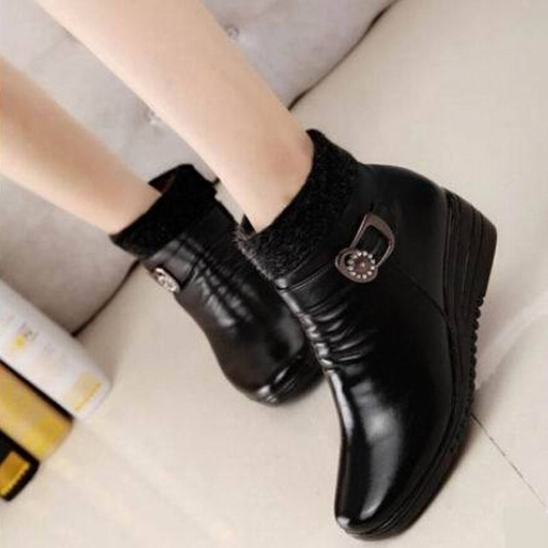 New 2015 vintage women boots women leather winter boots warm plush autumn boots winter wedge shoes woman ankle boots size 36-40