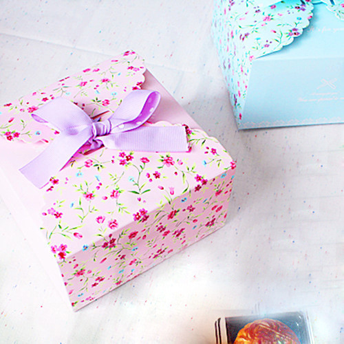 14.5*8*14.5cm 10 Pcs Flower pink Cake Box Cupcake Kraft Paper Packaging Boxes Baking Gift Party Birthday Shop Packing Decoration(China (Mainland))