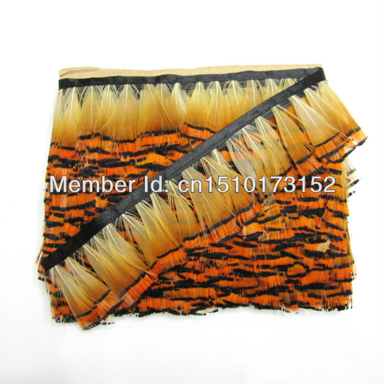 1Yard Natural Pheasant Feathers Ribbon 2-3inches/5-8cm Craft BB11-2 - TiTi Feather Market store