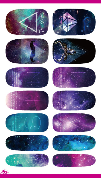 2015 Nail Art Sticker Cartoon Mystery Galaxies Water Transfer Nail Sticker Minx Love Miss Design Nail Decoration Foil Decals(China (Mainland))