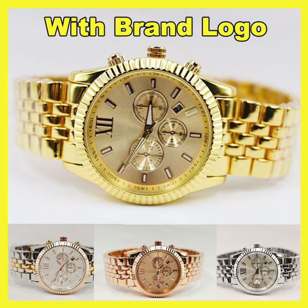Famous Brand Kors Luxury Gold Rose Gold Silver Roma Dial Full Stainless Steel Quartz Analog Wristwatches Watch for Men Women<br><br>Aliexpress