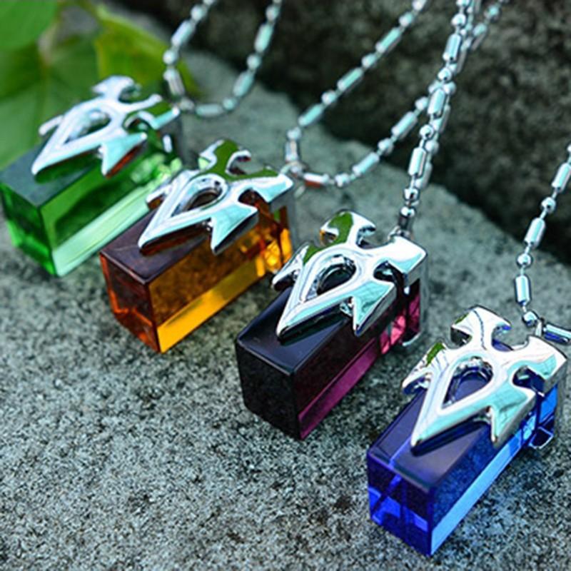 4Pcs/Lot Cosplay Charms Sword Art Online SAO Kirito Yuki Asuna Crystal Necklace Pendant Charms Set Collection Transfer Crystal(China (Mainland))