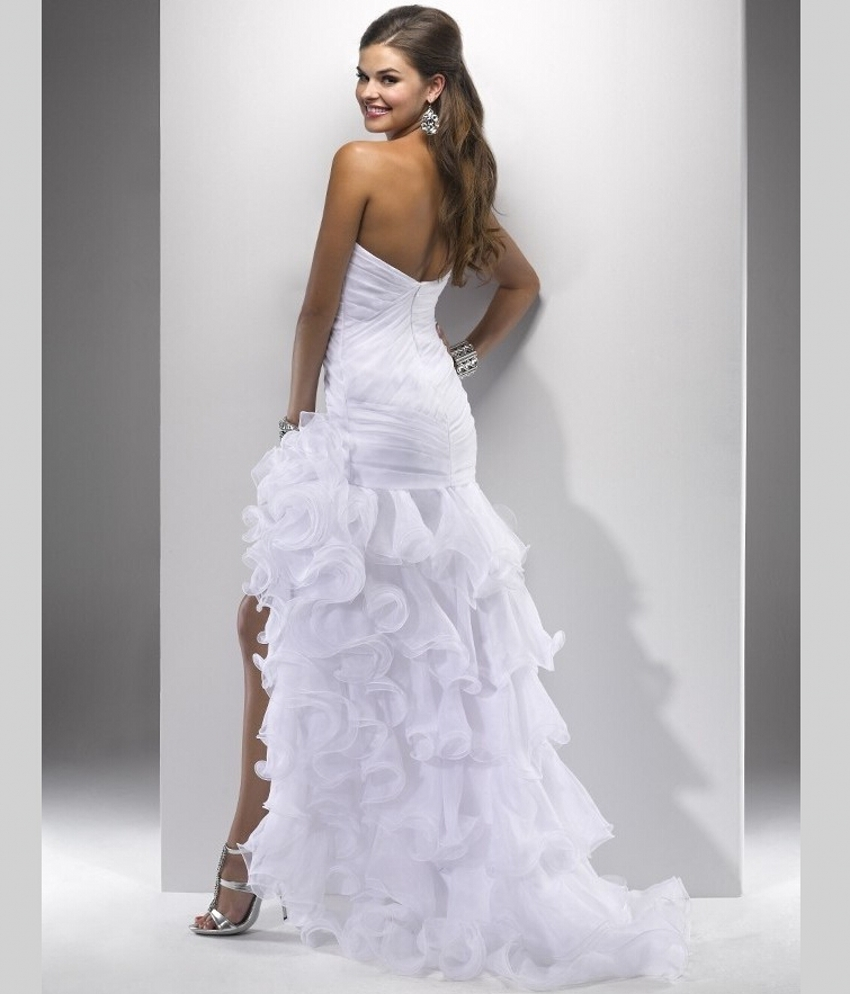 Wedding gowns short in front long back wedding dresses asian for White wedding dress short