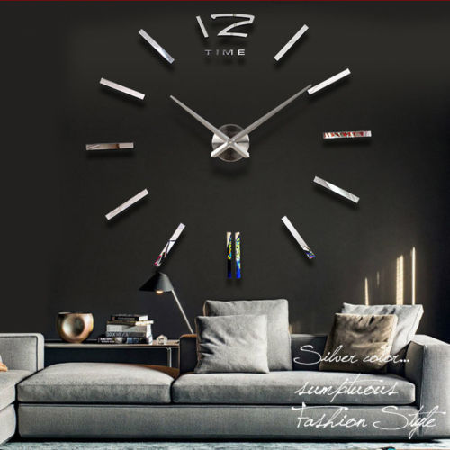 Home decorations!big mirror wall clock Modern design,large decorative designer clocks.watch sticker,unique gift - LiuYuan gifts store