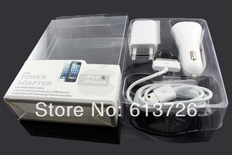 10 pcs/Lot EU Plug replacement 3 one 5v ac Power Adapter USB Data Cable Car Charger Iphone 4/4s & Ipad - Shenzhen Green Electronics Co.,LTD store