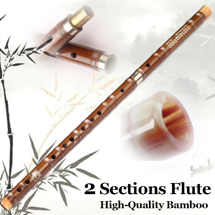 2Sectons Traditional Bamboo Wooden Chinese Dizi Fl...