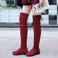 Women Slim Thigh High Boots High Quality Faux Suede Stretch Over Knee High Boots Woman Shoes