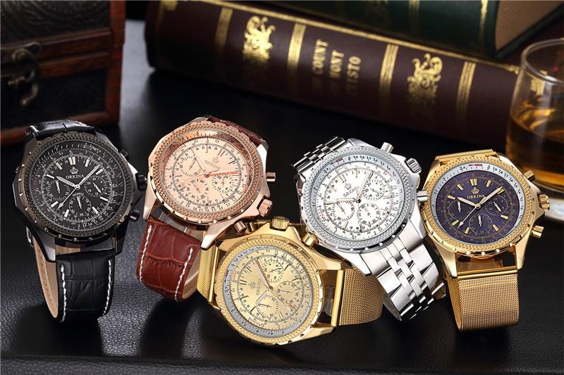 2016 Прямые Продажи Часы Blackcat Нержавеющей Стали Часы Orkina Золотой 30 м Водонепроницаемый мужской Моды Ремешок Кварцевые часы класса люкс