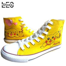 Custom Anime Pokemon Pikachu Graffiti Breathable Flat Shoe Hi-Top Lace-Up Cartoon Animal Hand Painted Canvas Shoes for Men Women