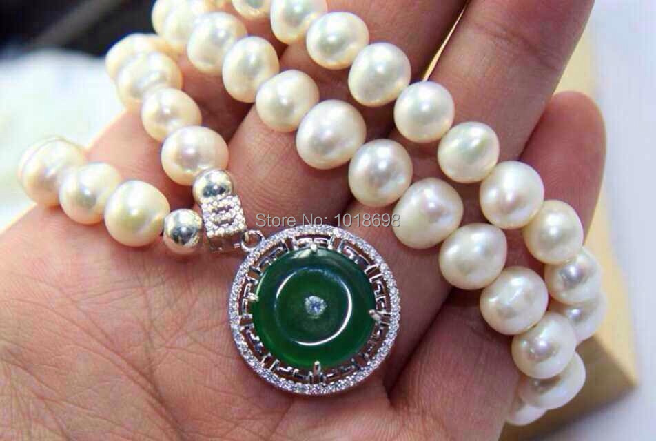 2014 New fashion Freshwater pearls necklace with jewelry chrysoprase necklaces & pendants(China (Mainland))