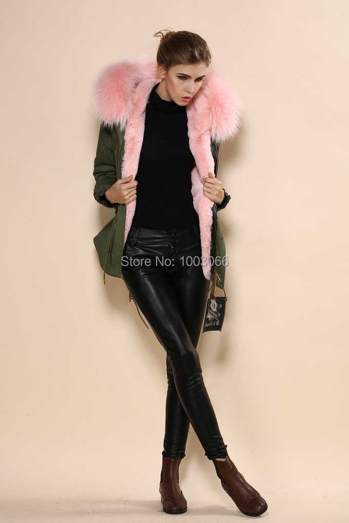 new concept women army style light pink collar hooded military parka jacket(China (Mainland))