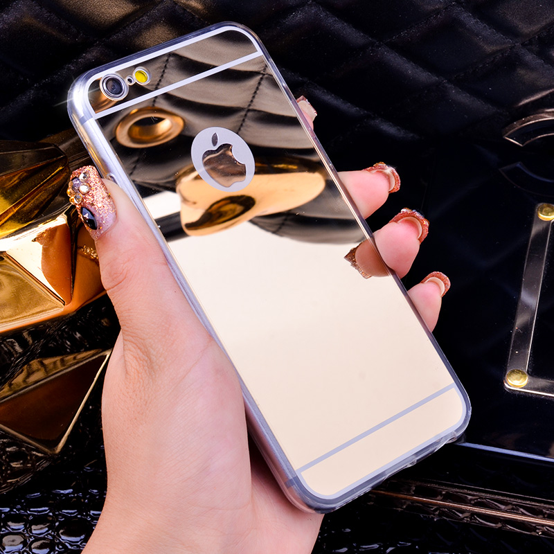 Luxury Mirror Electroplating Soft Clear TPU Cases For iphone 6 / 6S 4.7 inch For iPhone6 Plus 5.5 inch 5 5s Back Cover Bags(China (Mainland))