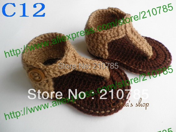80pairs / lot Crochet Baby Sandals, Baby boy Brown Flip Flops, Crochet Baby Shoes, Sizes 0-12 Months Free Shipping(China (Mainland))