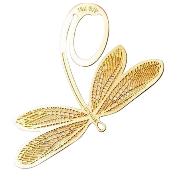 High Quality New for Creative Reading 18K Gold Golden Dragonfly Style Bookmark Book Marks Gifts(China (Mainland))