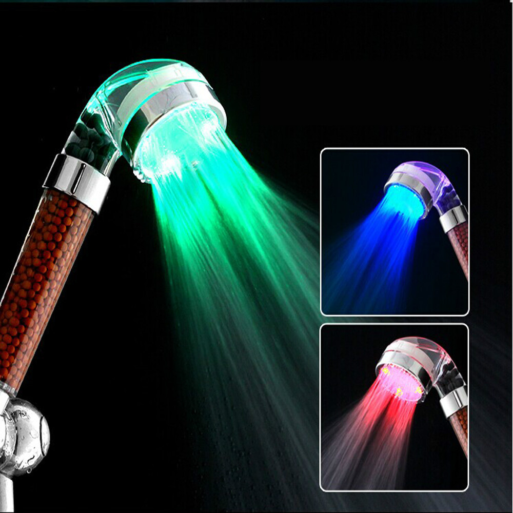Гаджет  LED Temperature Control Romantic 3 Colors Light Bathroom Shower Head None Дом и Сад
