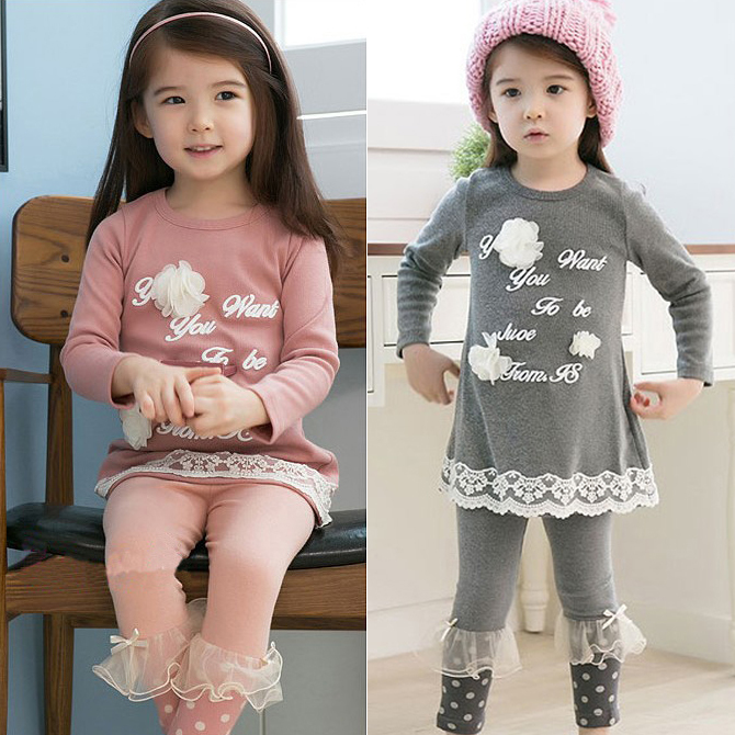 Wholesale 2015 Girls Long Sleeve Letter Print Flower Tops Lace Dot Pants Kids Autumn Clothing Sets Free shipping,H0015(China (Mainland))