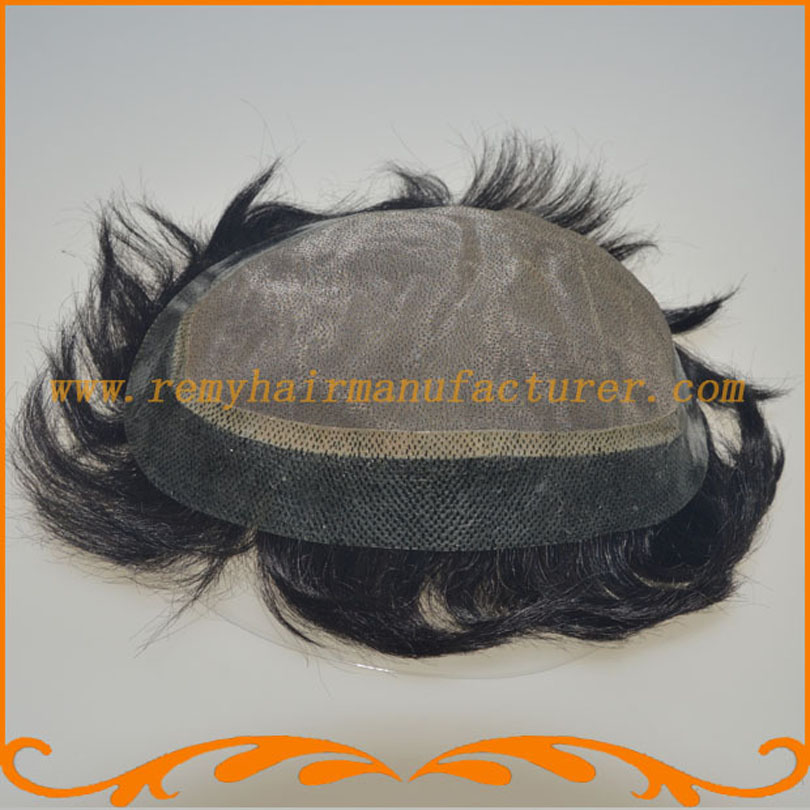 Free Shipping straight wave remy hair base size 8*10inch mono and around PU men's wigs toupee mens hair pieces(China (Mainland))