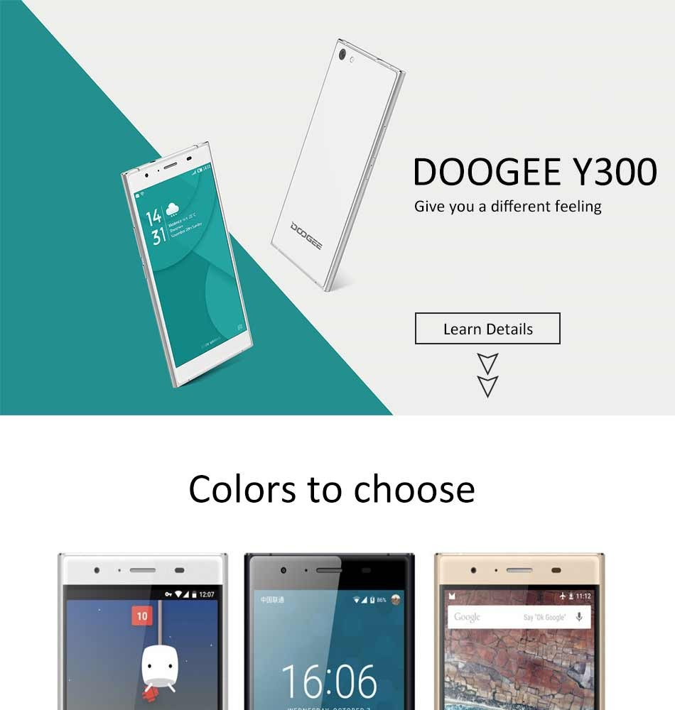Original Doogee Y300 Android 6.0 5.0 Inch HD Screen Smartphone 2GB RAM 32GB ROM Cell Phone MTK6735P Quad-Core 4G Mobile Phone