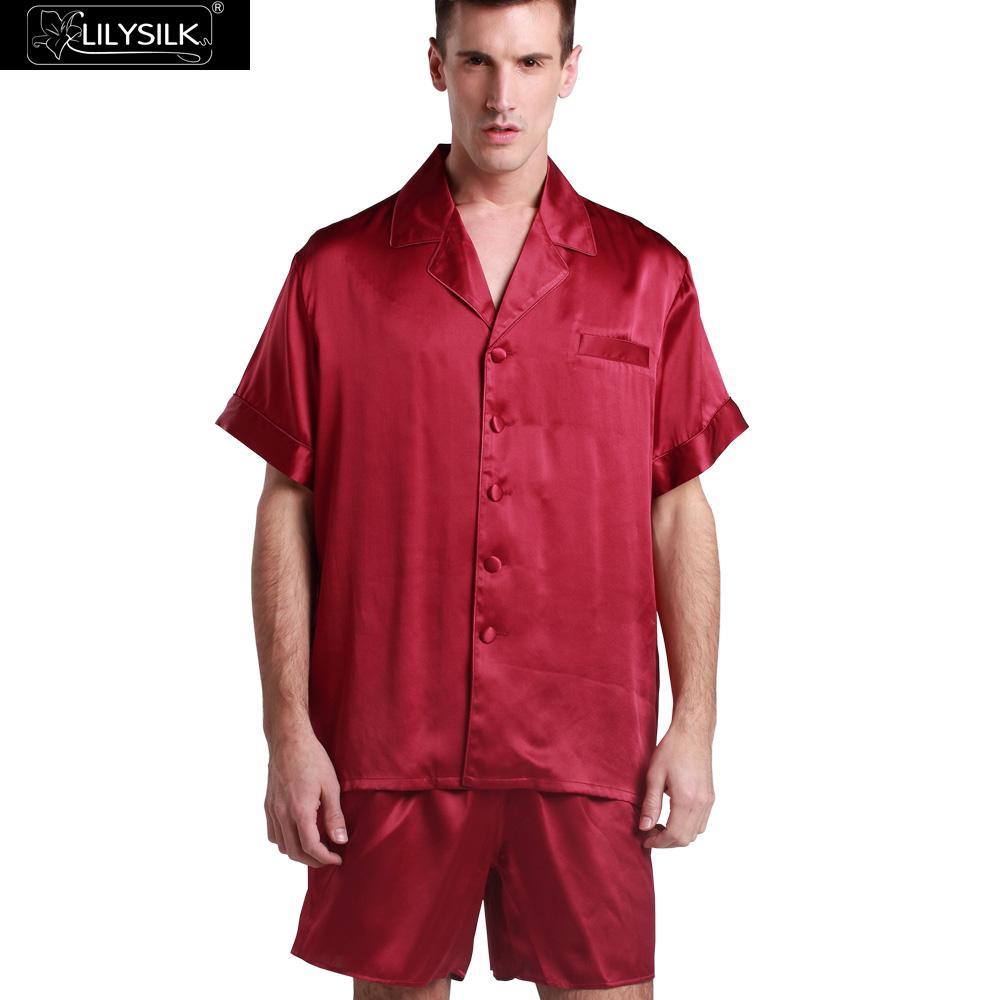 rouge soie hommes pyjamas promotion achetez des rouge soie. Black Bedroom Furniture Sets. Home Design Ideas