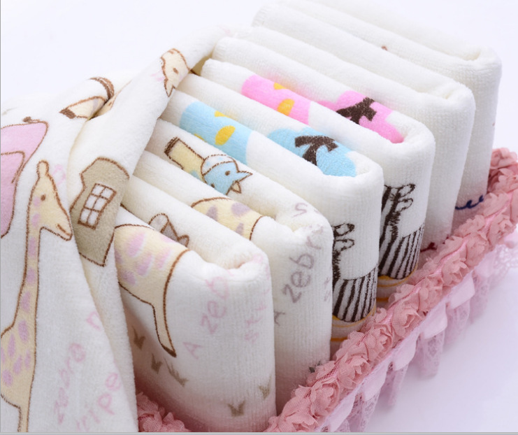 Hot Sale Children Washcloth Baby Feeding Baby Face Towels Washers Hand Cute Print Cartoon Wipe Wash Cloth Cotton