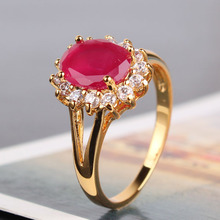 Elegant Designer 24K Gold Plated Rings Girl's Oval Cut Ruby Crystals Ring Engagement Wedding Ring for Women Free Shipping R027