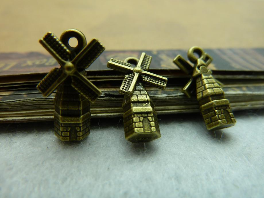 30pcs Wholesale Vintage Jewelry Findings And Components Antique Bronze Windmills Charm DIY Jewelry Making Accessories(China (Mainland))