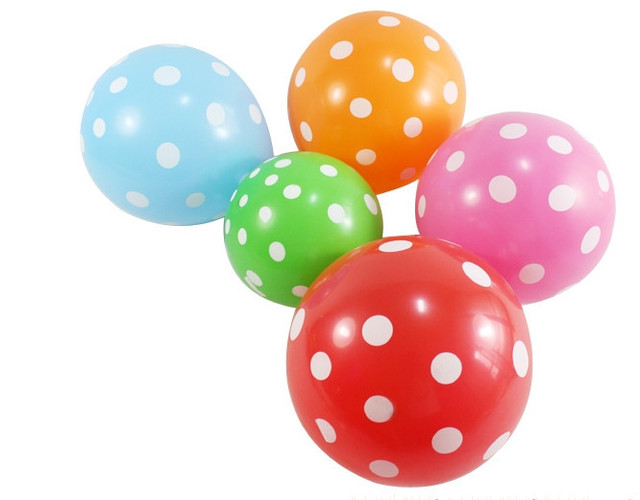 Free Shipping Fashion South Korea 12 inch Thick Dots Polka Dot Balloons Birthday Festive Party Decoration Candy Color Toy 3.2 g