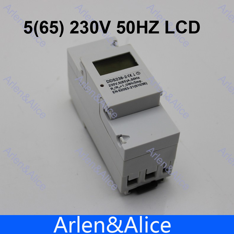 5(65)A 230V 50HZ DDS238-2 Single phase Din rail KWH Watt hour din-rail energy meter LCD(China (Mainland))