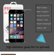 Explosion-proof HardnessTempered Glass Screen Protector for iPhone 6 6s arc 0.3mm Ultra Thin 4.7inch +Retail Box Package