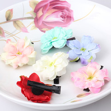 Hot Sale Summer Style Fabric Wraped Clip Barrettes Flower Children Hair Accessories Beauty Hairpins Baby Hair Clips