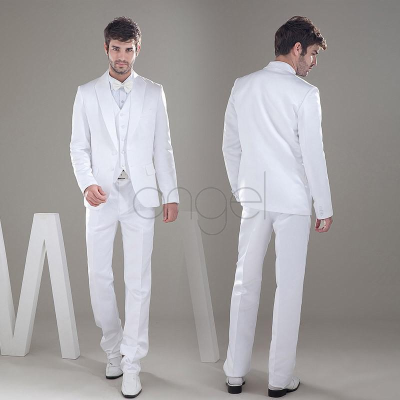 Cheap price -2014 New custom made groom tuxedos Shawl Collar two buttons Free Shipping white man's groom wedding suit 2014 prom