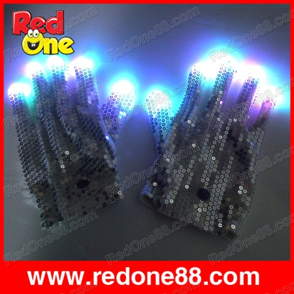 Free shipping 1 pair Flashing led Glove Light Show(5RED/5BLUE/5GREEN) for show fingers multicolor(China (Mainland))