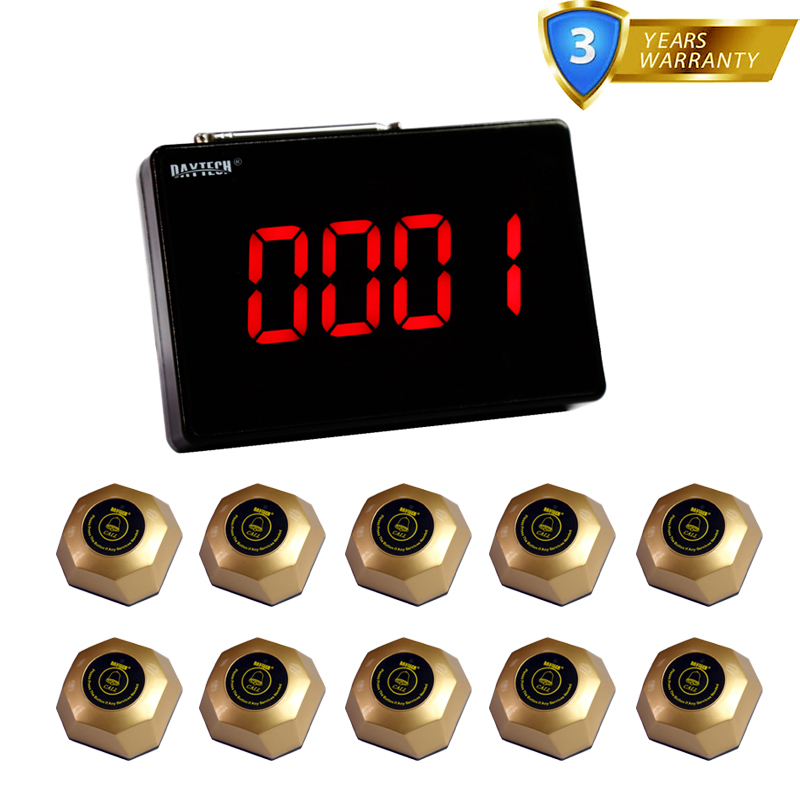 DAYTECH Waiter Calling System Wireless Call Button Buzzer Restaurant Pager 10 Table Bells 1 Display(China (Mainland))