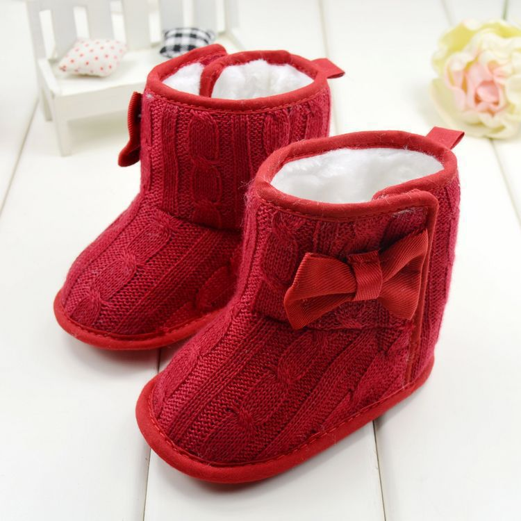 Newborn Crochet Knit Fleece Boots Toddler Girl Wool Snow Crib Cotton Shoes Booties