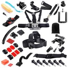 Gopro Hero Accessories Set Helmet Harness Chest Mount Strap Monopod Go pro hero4 3+ sjcam Sj4000 sj5000 xiaomi yi Black Kit GS43