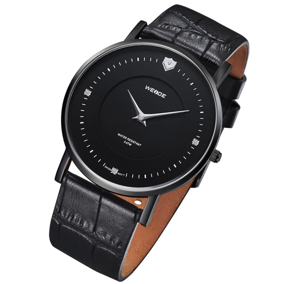 !WEIDE men solid stainless steel genuine leather strap watches Ronda Quartz movement waterproof wristwatches - The global digital tesco store