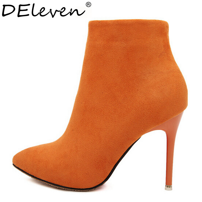 Гаджет  Sexy Women Boots Solid Flock Suede Zip High heels Boots Lady Stiletto Pointed toe Ankle Boots Martin Boot Orange Blue Rose Black None Обувь