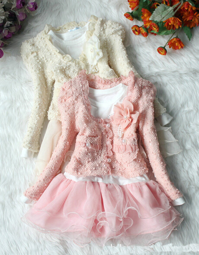 baby girl clothing suit flower pearl kids clothes pink Cardigan + long sleeved dress cotton wedding ropa bebe infantil conjunto(China (Mainland))