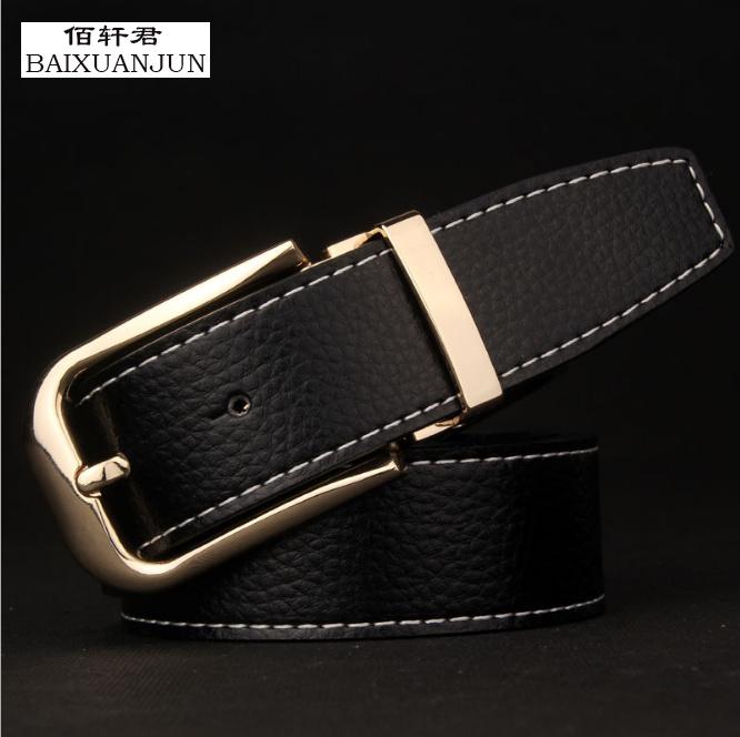 [BAIXUANJUN] Men's pin buckle belt new upscale boutique pure leather belt high quality brand jeans waistband belt(China (Mainland))