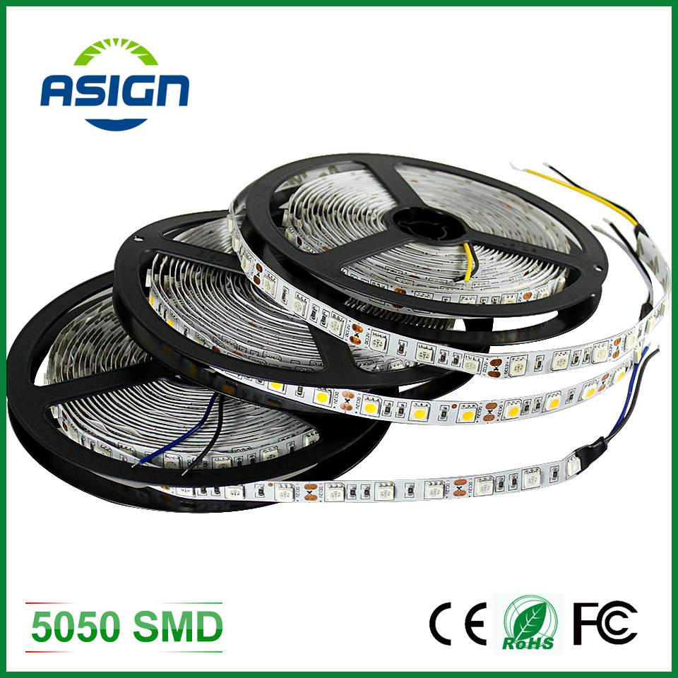 LED Strip 5050 12V Flexible Light 60 leds/m White Warm White Red Greed Blue Yellow RGB Color 5m/lot More Brighter Than 3528(China (Mainland))