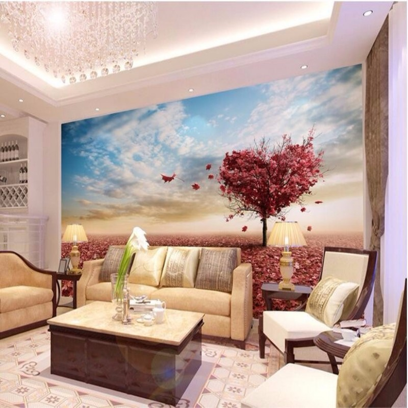 Custom Photo Wallpaper 3D Stereo Large Murals Love tree Maple red living room sofa bedroom flash silver cloth mural wallpaper(China (Mainland))