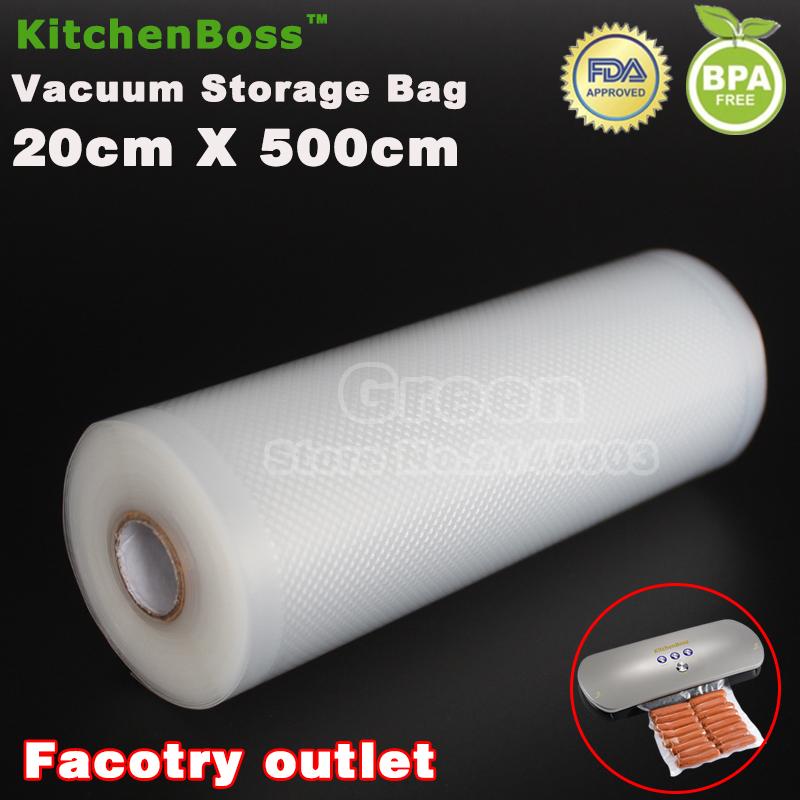 (5 Rolls/ Lot ) 20cm x 500cm Food vacuum heat sealer packaging bag food saving storage film keep fresh up to 6x longer(China (Mainland))