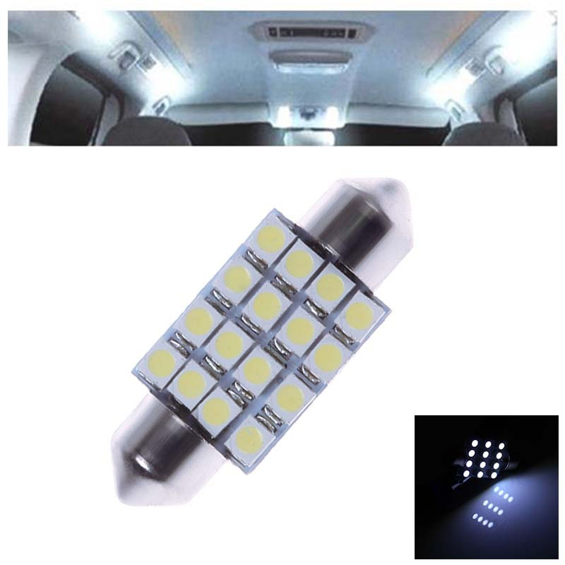 2x 36MM 16 SMD 3528 Car Interior Dome Festoon LED Light Bulbs Lamp White 12V #57211(China (Mainland))