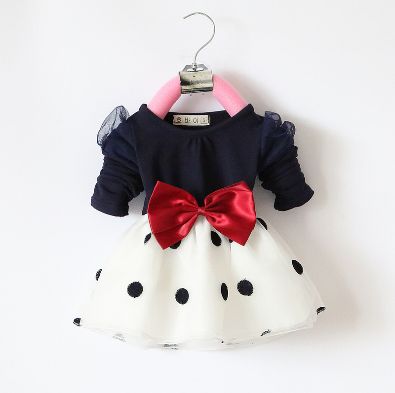 2015 Fashion Baby Dress Baby Girls Clothes Autumn Children Dress Polka Dot Kids Long Sleeve Girls Dress Bowknot Vestidos Menina(China (Mainland))