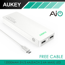 Aukey 12000mAh Mobile Power Bank Powerful External Battery with AIPower Tech for iPhone7 6plus Smart Andriod S7 Note 7 Tablet