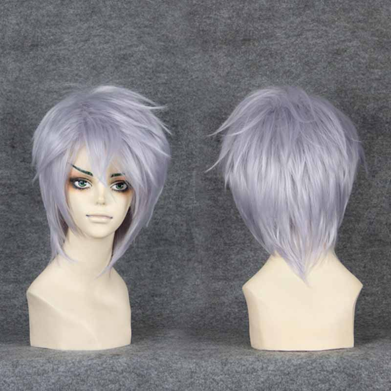 MCOSER Final Fantasy VII 7 Cloud Strife Short Silvery White  Cosplay Hair Wig Christmas