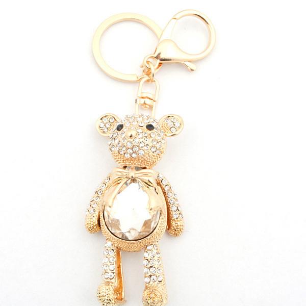 Бесплатная доставка европейская мода оптовая животных медведь брелок позолоченный горный хрусталь брелок металлический брелок