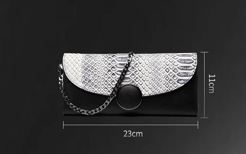 2017 New Elegant Serpentine Kulit Asli Wanita Kopling Evening Tas Rantai Bahu Tas Tas Clutch Dompet Wanita tas Panjang